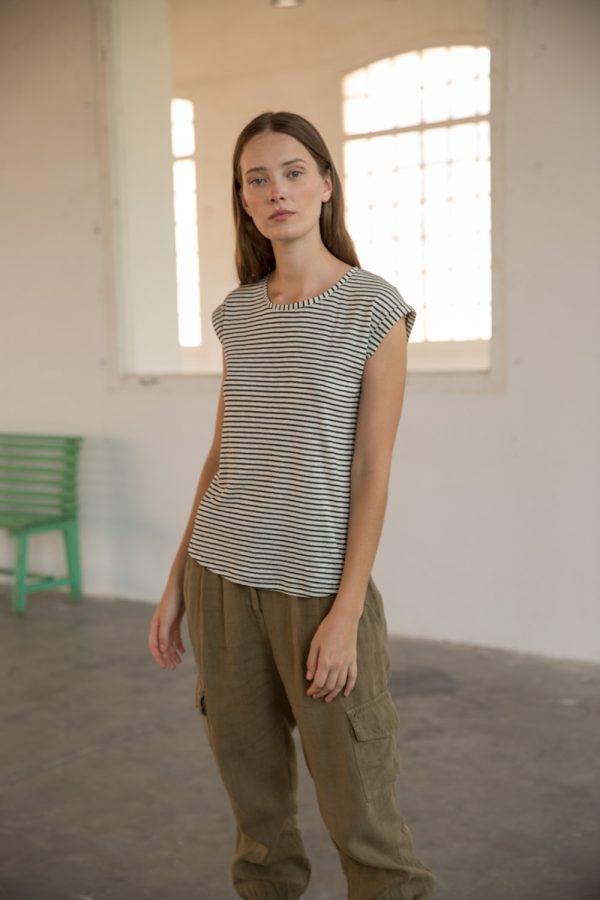 Camiseta rayas / sin manga